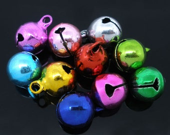25 Asst. Color Jingle Bell Charms 14x10mm (S23d)