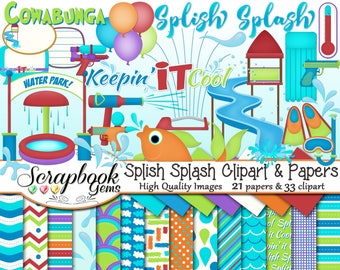 SPLISH SPLASH Clipart and Papers Kit, 33 png Clip arts, 21 jpeg Papers Instant Download water park gun slide amusement sprinkler pool raft