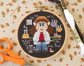 Scientist Counted Cross Stitch Pattern PDF | Wee Little Workers Series | Easy | Modern | Beginners Counted Cross Stitch Pattern