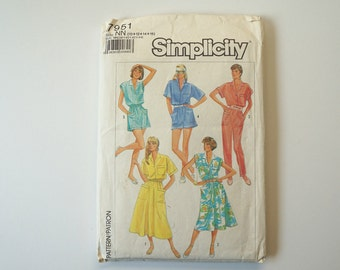 UNCUT Simplicity 7951 Loose-fitting Dresses In Two Lengths, Jumpsuit and Romper Vintage Paper Sewing Pattern Size 10, 12, 14, 16