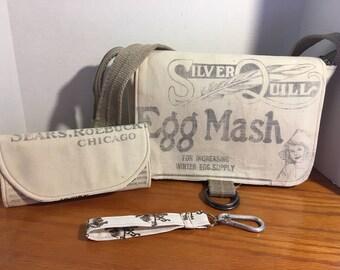 Vintage Feedsack Messenger Bag