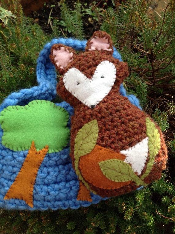 Fox with woodland storage bag.