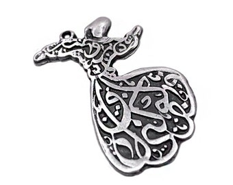 1 Silver Plated Large Whirling Dervish | Semazen Pendant Charm, Silver Plated Dervish Charm, Matte Silver Whirling Dervish