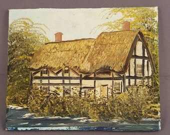 English miniature oil on panel painting - thatched cottage - riverside thatched cottage - anonymous