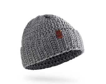 grey, handmade, crochet hat, fold over brim beanie, designer, wool, winter Beanie OLE, available in different colors