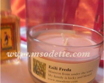 Pink Candle used for Erzulie Freda,  Ezili Freda candle, Haitian Vodou botanica