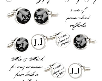 Cufflinks Personalised Heirloom Mix & Match set of 4. From Baby to Adulthood