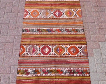 "Vintage Turkish kilim rug, bohemian rug, turkish rug, colorful rug, hallway rug, persian rug, wall decor, wool rug, 43.5"" x 64"