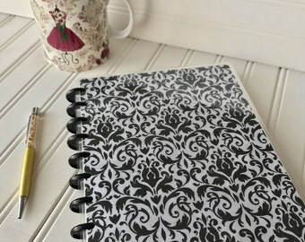 Happy planner front cover for mini, classic or large size planner Black and white damask design