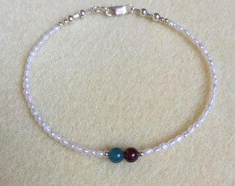 Apatite, Garnet, Freshwater Pearl and Sterling Bracelet