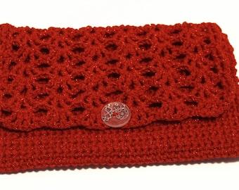 Red Clutch, Crochet Red Clutch, Red Crochet Bag