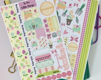 Spring garden planner stickers for your planner,  pink stickers, Personal planner supplies, Personal size planner stickers