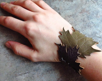 Leather Maple Leaf Cuff Bracelet, Hand Crafted Leather Jewelry
