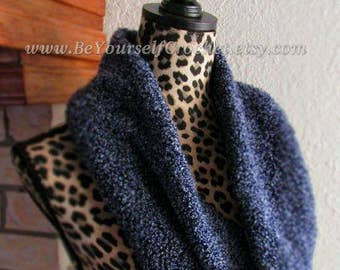 Beautiful Blue Infinity Hand Knitted Scarf