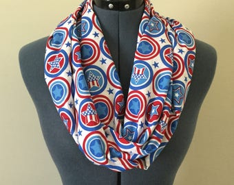 Patriotic Infinity Scarf / Stars / Circles / Red White and Blue / Patriotic / Fourth of July / Memorial Day / Veterans Day / Scarf / Gift
