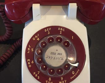 Vintage rotary phone rare two-tone red and white