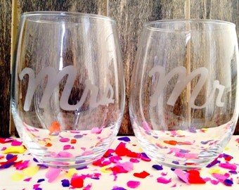 Mr and Mrs Etched Stemless Wine Glasses - Set of 2