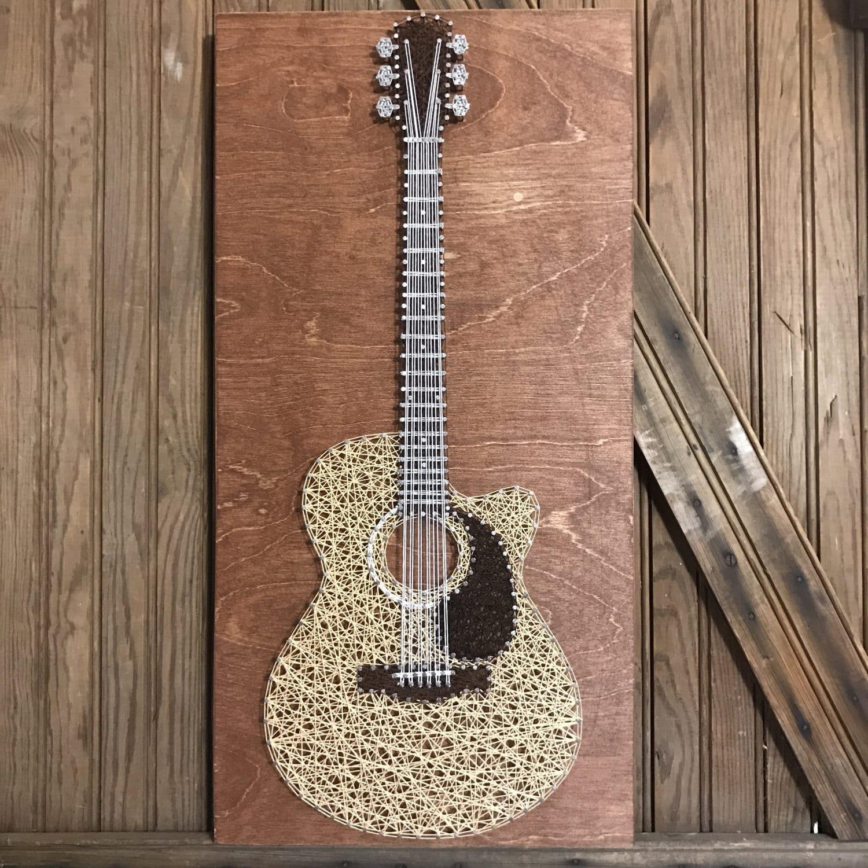 acoustic guitar string art. Black Bedroom Furniture Sets. Home Design Ideas