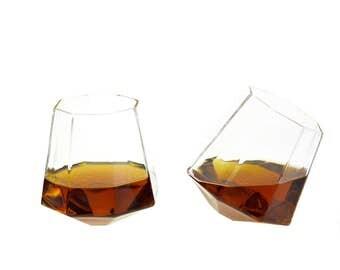 Diamond Shaped Whiskey Glass - 8 oz  (Set of Two)