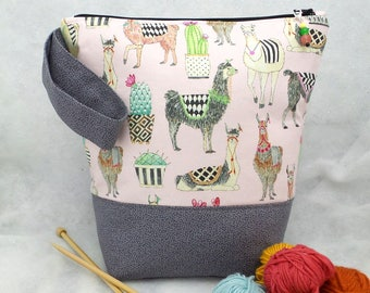 Llama Knitting Bag, Knitting Tote, Knitting Bag, Crochet Project Bag, Sock Knitting Bag,  Padded Knitting Project Bag