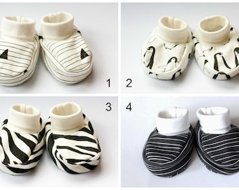 Monochrome Organic baby clothes baby booties baby shoes organic jersey baby booties with cuffs Slippers Baby Socks baby girl shoes