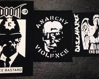 Lot of 3 Crust Patches Gism Discharge Doom D-Beat Punk Metal