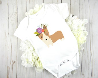 Baby Bodysuit, Hippie Corgi Onesie, Dog, Baby One Piece, Quirky, Funny Onesie, Flower Crown, Flower Baby, Baby Girl Onesie, Infant Bodysuit