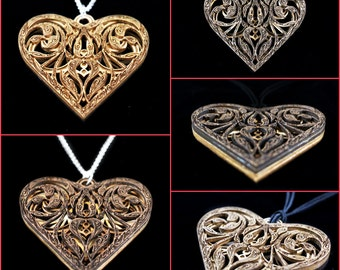 Sweetheart Reversible Walnut and Maple Heart Pendant