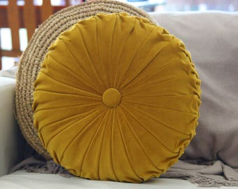 Large Mustard Yellow Velvet Vintage Style Round Cushion