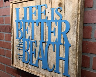 Life is Better at the Beach wall decor, Beach decor, Beach wall art, Natucal decor, Natucat wall art, Beach House, Coastal Living, Seaside