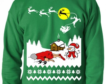 Ugly Christmas Sweatshirt, Grandma Got Run Over By A Reindeer