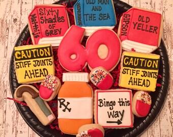 60th Birthday Sugar Cookies/ Decorated Sugar Cookies/ 60 th Birthday/Sugar Cookies/ Birthday Cookies/ Over the Hill Sugar Cookies
