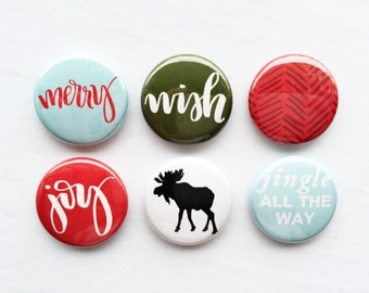 Set of 6 Flair Buttons {North of December Kit Flair}