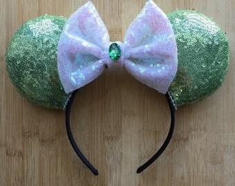 Tiana Minnie Ears, Tiana Mouse Ears, Tiana Ears, Bayou Princess Ears, Minnie Ears, All Sequin Ears Princess Collection