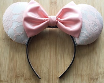 Pink Lace Ears, Lace Minnie Ears, Marie Inspired Ears, Spring Ears, Easter Ears, Food and Garden Ears