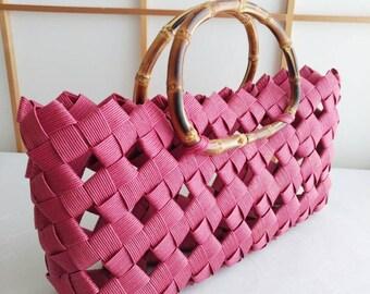 Red handbag, handbag, minimal bag,kimono bag, summer bag, Japanese, bamboo, eco friendly, rustic, gift, birthday