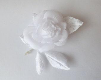 Vintage Millinery flowers. ROSE. Hat trim. Flower spray. - vintage rose - white rose - millinery rose - corsage - bud rose - white flower
