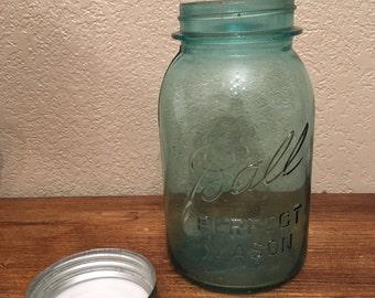 1920s Ball Mason Jar-Antique Kitchenware-Glass Canning Jar