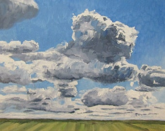 """Easter Prairie Field Clouds Original Handmade Oil Painting on Linen Board 9"""" x 12"""" One of a Kind Hand Painted Artwork Landscape"""