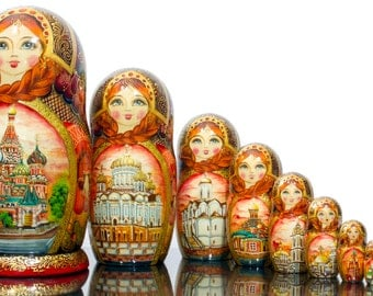 "Russian Nesting Doll - VERY BIG size - 10 dolls in 1 - Russian Beauty - ""MOSCOW Memories""- Hand Painted in Russia"