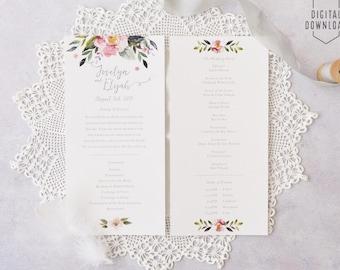 floral wedding program, printable wedding program, blush ceremony program, watercolor wedding, wedding printable, diy wedding, wedding party
