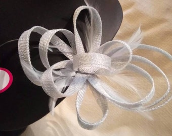 Bow Fascinator with feathers ice blue colour.