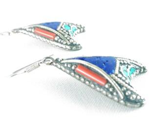 Earrings Tibetan arrow tribal style boho vintage