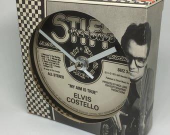 Elvis Costello - My Aim Is True. Clock made from vinyl record