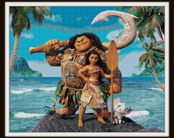 Moana Cross Stitch Pattern - Moana - Maui - Hei Hei - PDF Download