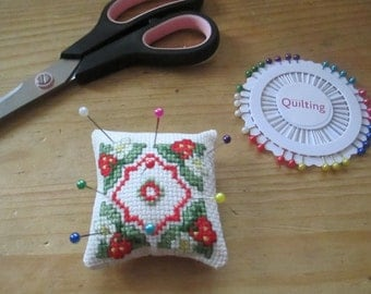 Handmade Cross Stitch Pin Cushion Sewing Women Men Hobby Craft