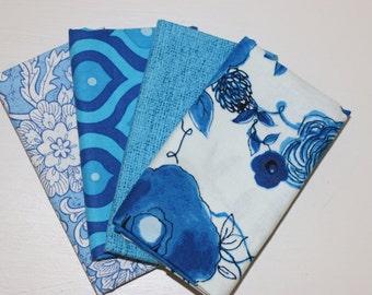 SALE - 4 Fat Quarters  (Blue) - Cotton fabric