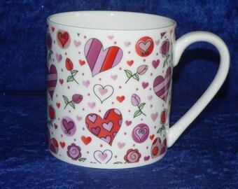 Hearts 1 pint bone china mug pink hearts CHINTZ mug- personalised if required at no extra cost