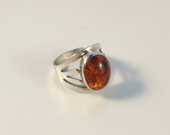 Vintage Fischland schmuck silver amber ring from Germany