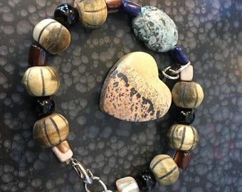 Ann Lydia Heart and stones Beaded Bracelet